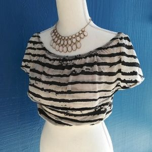 BNWT Emma & Sam Striped Off Shoulder Crop Top XS